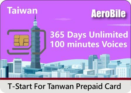 Taiwan T-Star SIM Card Data-Only 365 days Unlimited 4G LTE Data +100 Minutes Voice