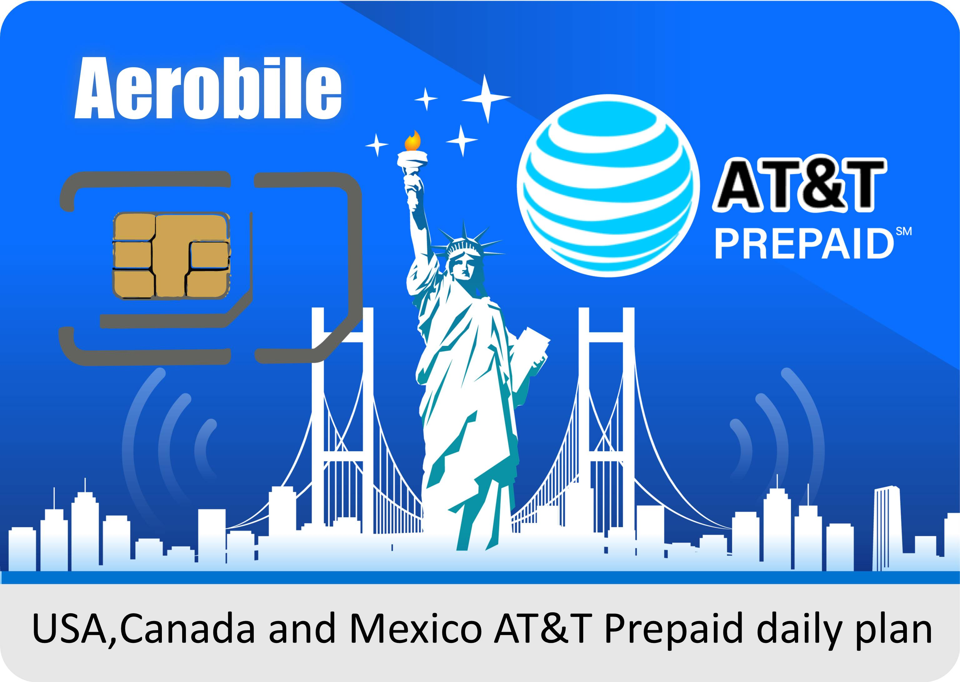 USA AT&T Prepaid SIM card - high speed data + unlimited calls (service in USA,Canada and Mexico)