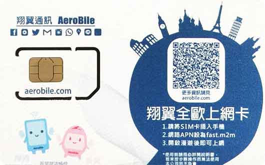 Europe Aerobile data SIM topup-500MB