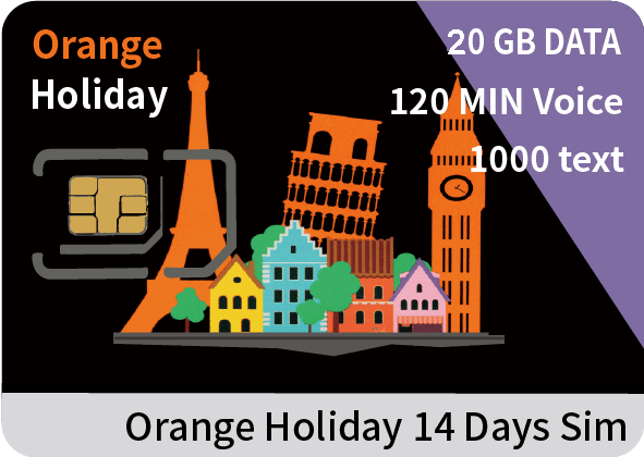 Europe Orange Holiday SIM card 20GB data+120 min intl' voice