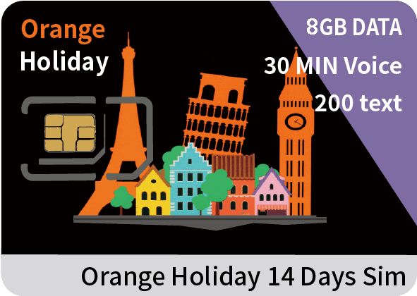 Europe Orange Holiday Zen-SIM card 3GB data+30 min intl' voice