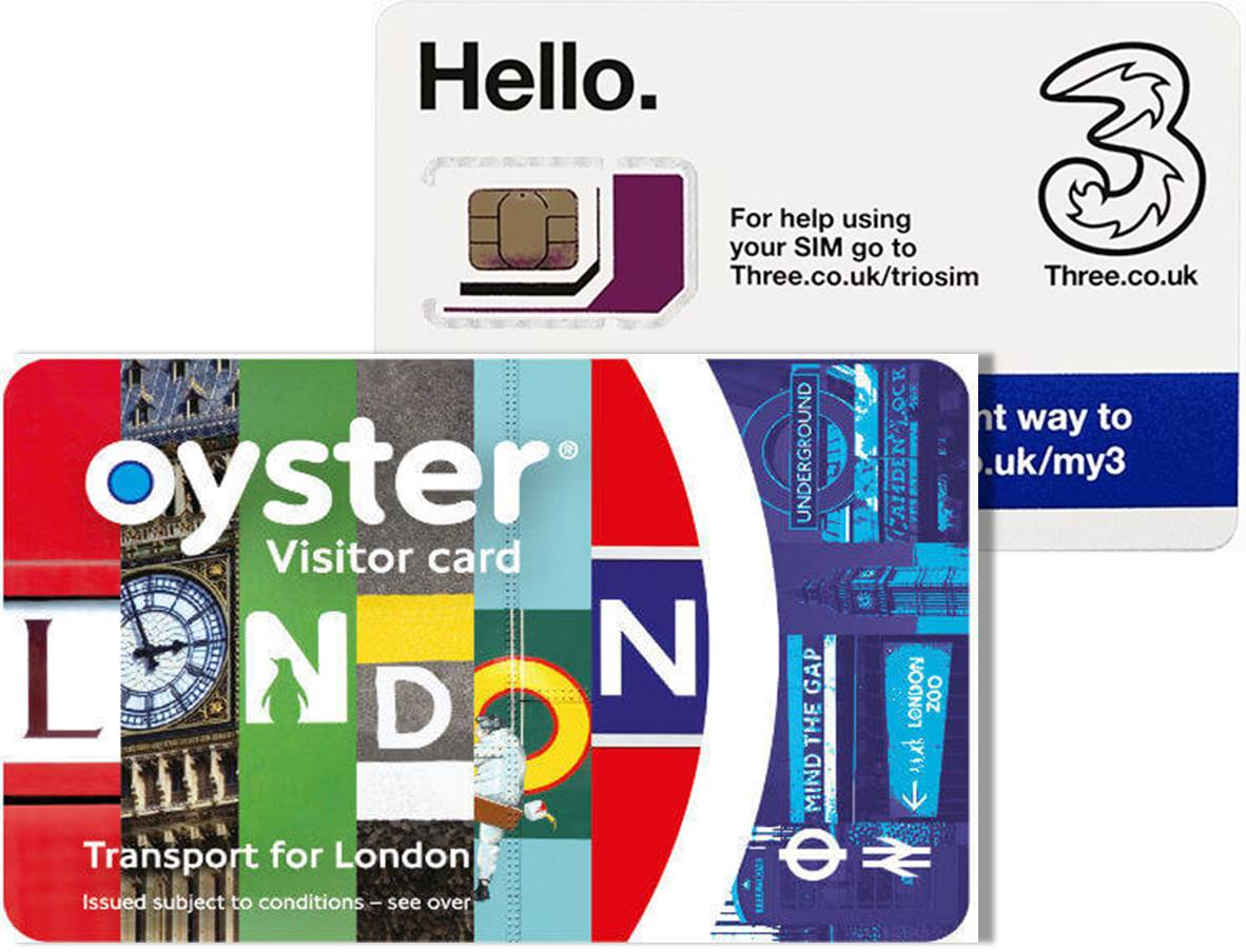 UK Oyster card + Three simcard London Package