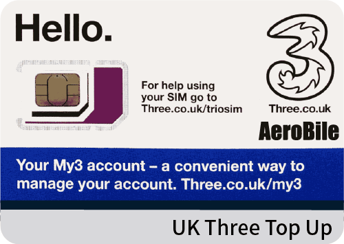 UK Three Top-Up £15/£20/£35