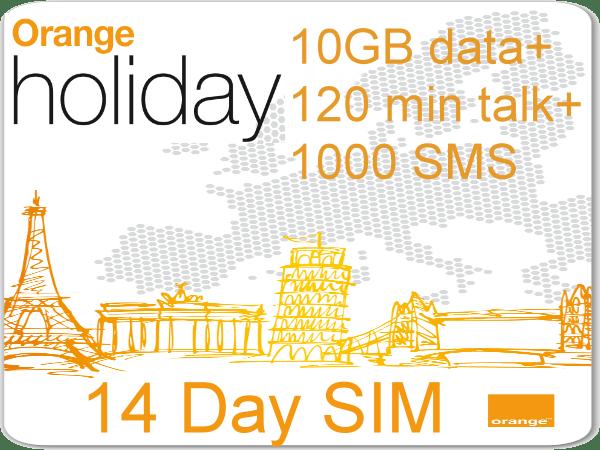 europe orange holiday sim card 10gb data120 min intl voice - Prepaid Sim Card Europe Data